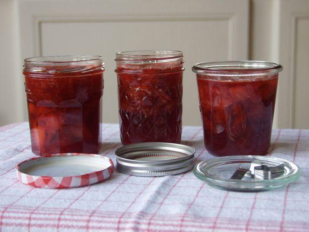 Strawberry jam in 3 different jars
