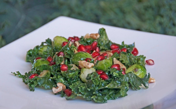 Warm Brussels Sprouts & Kale Salad with Blue Cheese Dressing