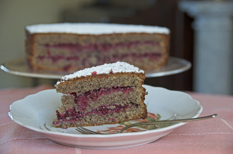 Gluten-free Buckwheat Cake with Lingonberry Filling
