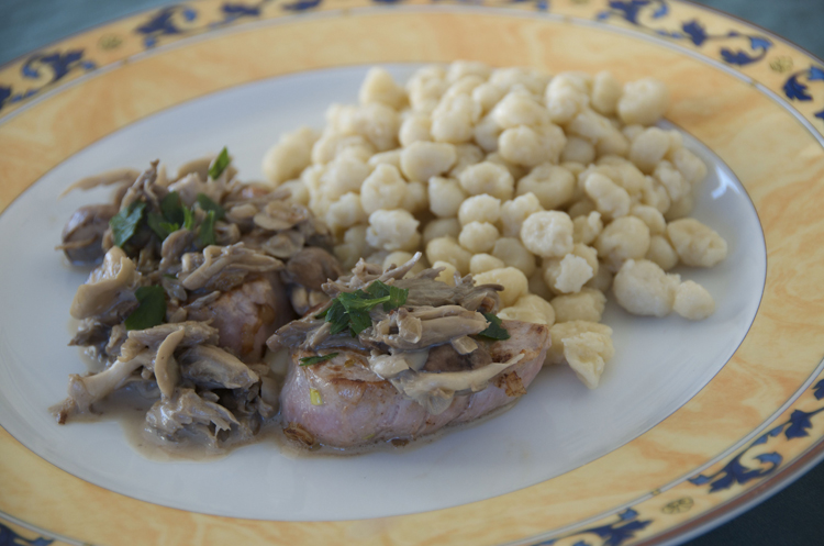 Pork loin spaetzle mushrooms