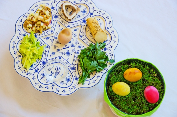 Seder plate and Easter eggs