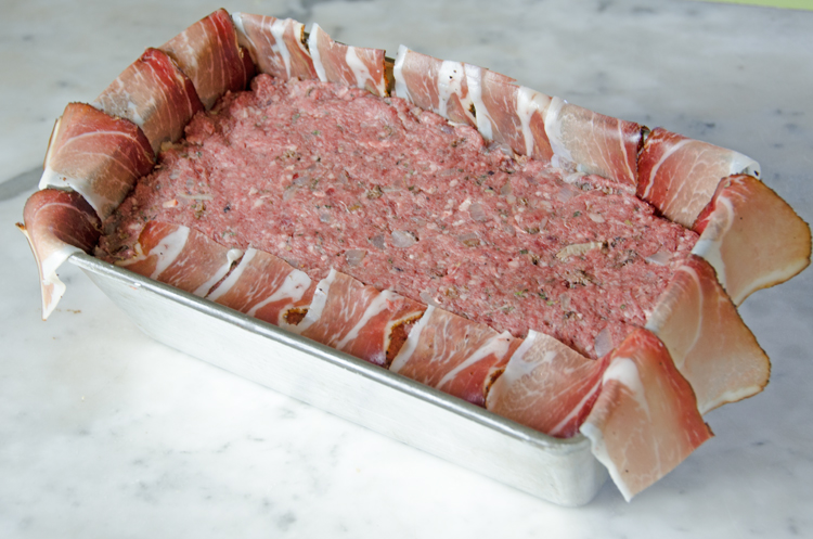 venison-pate-lining-pan-with-bacon